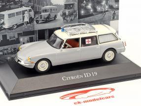 Citroen ID 19 Break ambulanza anno di costruzione 1962 grigio / bianco 1:43 Atlas