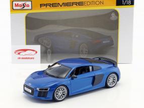 Audi R8 V10 Plus Year 2015 blue 1:18 Maisto