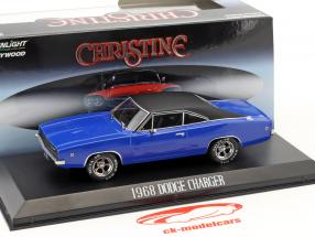 Dennis Guilder's Dodge Charger année de construction 1968 film Christine (1983) bleu / noir 1:43 Greenlight
