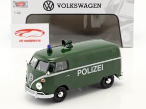 Volkswagen VW Type 2 T1 van polícia verde 1:24 MotorMax
