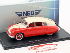 Tatra T600 Tatraplan Opførselsår 1948 rød / creme hvid 1:43 Neo