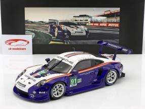 Porsche 911 (991) RSR #91 2º LMGTE Pro 24h LeMans 2018 Porsche GT Team com mostruário 1:18 Spark