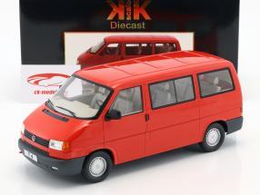 Volkswagen VW T4 bus Caravelle Bouwjaar 1992 rood 1:18 KK-Scale