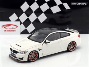 BMW M4 GTS año de construcción 2016 blanco con naranja llantas 1:18 Minichamps