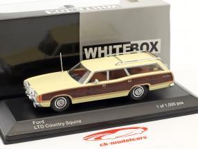 Ford LTD Country Squire Opførselsår 1972 lyse gul / brun 1:43 WhiteBox