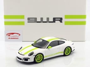 Porsche 911 (991) R year 2016 white / green with showcase 1:18 Spark