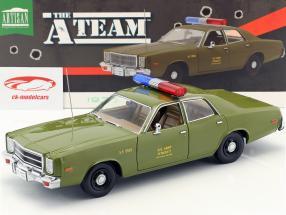 Plymouth Fury Baujahr 1977 TV-Serie Das A-Team (1983-1987) olivgrün 1:18 Greenlight