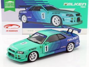 Nissan Skyline GT-R #1 Falken Tires Opførselsår 1999 grøn / blå 1:18 Greenlight