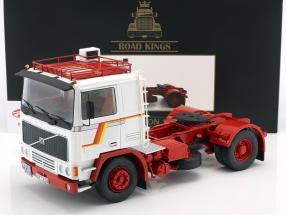 Volvo F12 Traktor Opførselsår 1977 hvid / rød 1:18 Road Kings