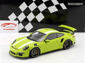 Porsche 911 (991) GT3 RS Bouwjaar 2015 licht groen / wit 1:18 Minichamps