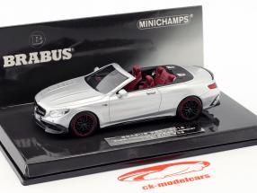 Brabus 850 baseado em Mercedes-Benz AMG S63 cabriolé ano de construção 2016 prata 1:43 Minichamps