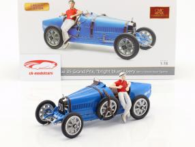 Bugatti Type 35 Grand Prix #30 blue with female racer figurine 1:18 CMC