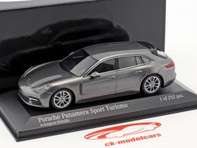 Porsche Panamera 4S Diesel Sport Turismo ano de construção 2017 ágata cinza metálico 1:43 Minichamps