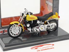 Harley-Davidson FXS Low Rider Bouwjaar 1977 geel 1:18 Maisto
