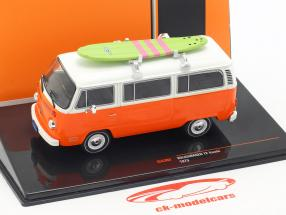 Volkswagen VW T2 Bus with surfboard year 1975 orange / white 1:43 Ixo
