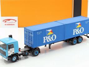 Volvo F10 caminhão com P&O caminhão do recipiente ano de construção 1983 azul 1:43 Ixo