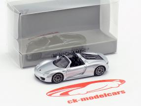 Porsche 918 Spyder ano de construção 2015 prata 1:87 Minichamps