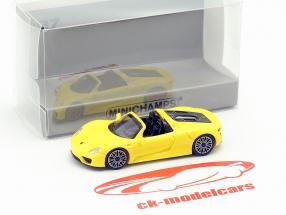 Porsche 918 Spyder Bouwjaar 2015 geel 1:87 Minichamps