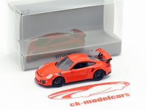 Porsche 911 GT3 RS Opførselsår 2015 lava appelsin 1:87 Minichamps