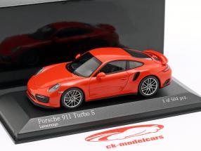 Porsche 911 (991 II) Turbo S year 2016 lava orange 1:43 Minichamps