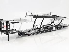 Lohr oplegger autotransporter voor Mercedes-Benz Actros zilver / zwart 1:18 NZG