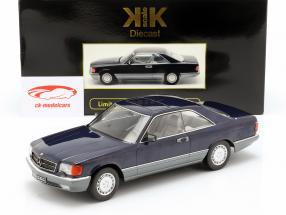 Mercedes-Benz 560 SEC C126 año de construcción 1985 azul metálico 1:18 KK-Scale
