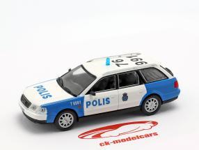 Audi A6 Avant politie wit / blauw in blaar 1:43 Altaya
