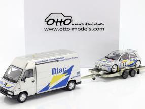 3-Car Set Rallye Monte Carlo 1995: Renault Master & Clio Maxi #15 & Trailer 1:18 OttOmobile