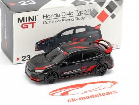 Honda Civic Type R (FK8) LHD Customer Racing Study sort / rød 1:64 TrueScale