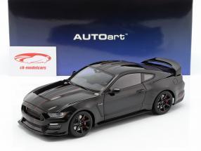 Ford Mustang Shelby GT350R ano de construção 2017 preto / esteira preto 1:18 AUTOart