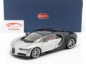 Bugatti Chiron ano de construção 2017 prata / atlântico azul 1:18 AUTOart