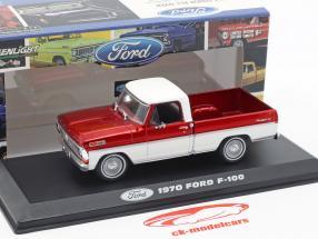 Ford F-100 Pick-Up vrachtwagen Bouwjaar 1970 rood / wit 1:43 Greenlight