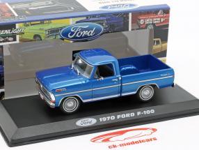 Ford F-100 Pick up Truck year 1970 blue metallic 1:43 Greenlight