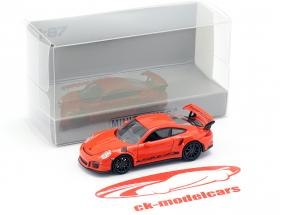 Porsche 911 (991) GT3 RS Baujahr 2013 lava orange / schwarz 1:87 Minichamps