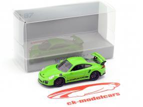 Porsche 911 (991) GT3 RS Bouwjaar 2013 geel groen / zwart 1:87 Minichamps