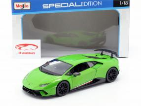 Lamborghini Huracan Performante Opførselsår 2017 grøn metallisk 1:18 Maisto