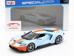 Ford GT Gulf année de construction 2017 bleu clair / orange 1:18 Maisto