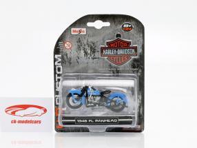 Harley-Davidson FL Panhead ano de construção 1948 azul / preto 1:24 Maisto