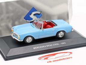 Mercedes-Benz 230SL Roadster (W113) Bouwjaar 1963 lichtblauw 1:43 Solido