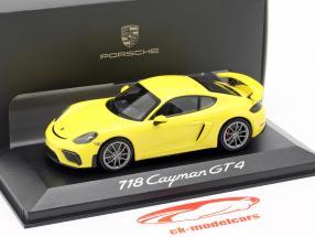 Porsche 718 (982) Cayman GT4 Ano 2019 amarelo 1:43 Minichamps