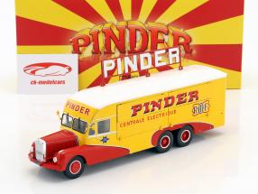 Bernard 28 elektrisch vrachtwagen Pinder circus Bouwjaar 1951 geel / rood 1:43 Direkt Collections