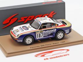 Porsche 959 N° 187 Rallye Paris - Dakar 1986 Kussmaul, Unger 1:43 Spark