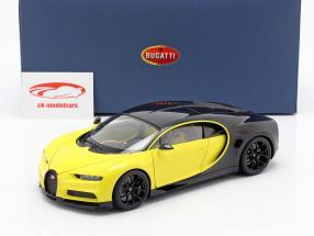 Bugatti Chiron año de construcción 2017 amarillo / negro 1:18 AUTOart