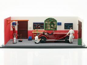 CMC Classic Garage incluindo Alfa Romeo 6C 1750 GS ano de construção 1930 1:18 CMC