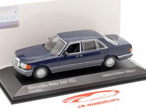 Mercedes-Benz 560 SEL (V126) año de construcción 1990 azul oscuro 1:43 Minichamps