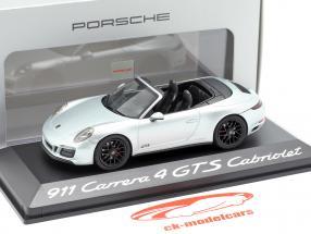 Porsche 911 (991 II) Carrera 4 GTS cabriolé rodio plata metálico 1:43 Herpa