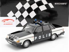 Volvo 240 GL Break politi Sverige Opførselsår 1986 sort / hvid 1:18 Minichamps