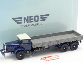Mercedes-Benz L 10000 camión plataforma año de construcción 1937 azul oscuro / gris 1:43 Neo