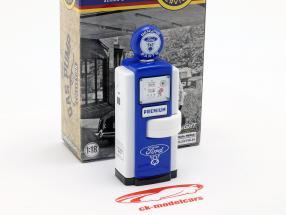 benzinepomp Ford Genuine Parts blauw / wit 1:18 Greenlight