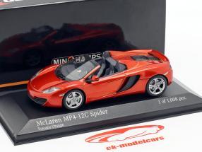 McLaren MP4-12C Spider Année 2012 volcan Orange métallique 1:43 Minichamps